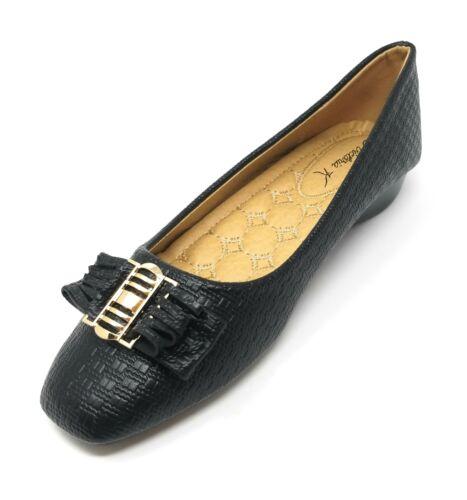 Classic Ballerina Slip-On Slipper Shoes Women Ballet Flats w// Fringe Bow Buckle