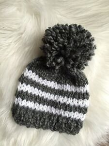 NEW Hand Knitted Baby Boy Beanie Hat Cap Newborn Stripe Gray White ... 7a9729ea0f8
