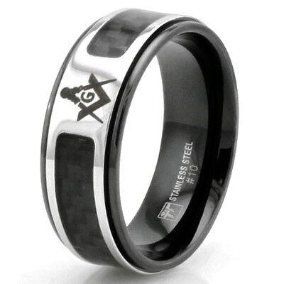 Stainless Steel Freemason Masonic Ring w/ Carbon Fiber Inlay Size 8