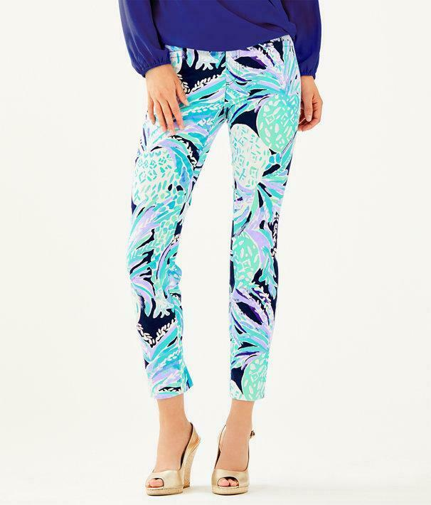 148 Lilly Pulitzer KELLY SKINNY ANKLE PANTS Bright Navy Alotta Colada bluee 4