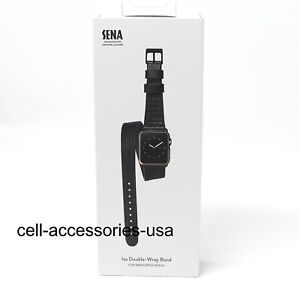 Sena-Genuine-Leather-Isa-Double-Wrap-Band-Watch-Strap-38mm-40m-Apple-Watch-Black