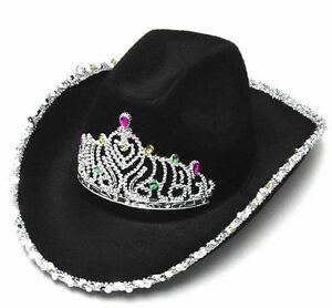 cada67b01cb 2 NEW BLACK VELVET COWBOY HAT TIARA western headwear hats womens ...