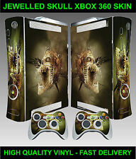 XBOX 360 CONSOLE STICKER SKIN JEWELLED SKULL GRAPHICS & 2 CONTROLLER SKINS