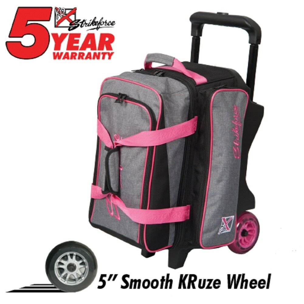 KR KRUSH Premium 2 Ball Roller Bowling Bag color Stone Grey Pink
