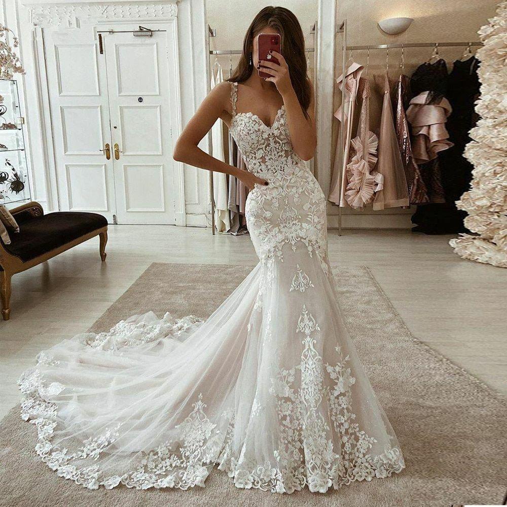 Wedding Dresses Long Train Sweetheart Spaghetti Straps Lace Applique White Ivory