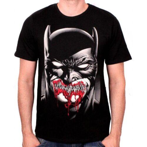OFFICIAL DC COMICS BATMAN STITCHED SMILE ZOMBIE STYLED BLACK T-SHIRT NEW