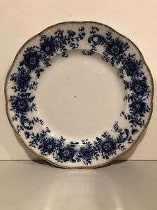 Antique-Vintage-1879-W-ADAMS-amp-CO-8-5-034-Side-Plate-Blue-with-Gold-Trim-Rhoda