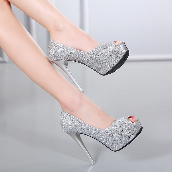 court schuhe elegant woman high 12 cm plateau silver open like Leder CW648