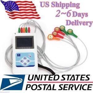 Contec-3-Kanal-24-Holter-Monitor-EKG-EKG-System-Maschine-Pacemaker-Analyzer-USA