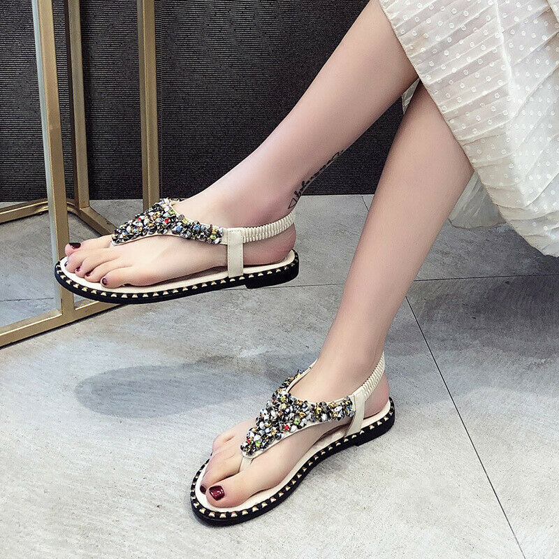 Retro Style Leather Stretchy Tasseled Rhinestone Fashion Sandals Flat Women shoes
