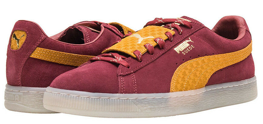 New PUMA Suede Classic Casual shoes Mens burgundy yellow