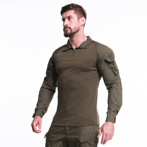 Mens Combat T-Shirt Army Military Long Sleeve Tactical Camouflage Casual Shirts