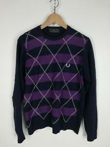 FRED-PERRY-MAGLIONE-CASUAL-in-LANA-Cardigan-Sweater-Pullover-Tg-M-SLIM-Uomo
