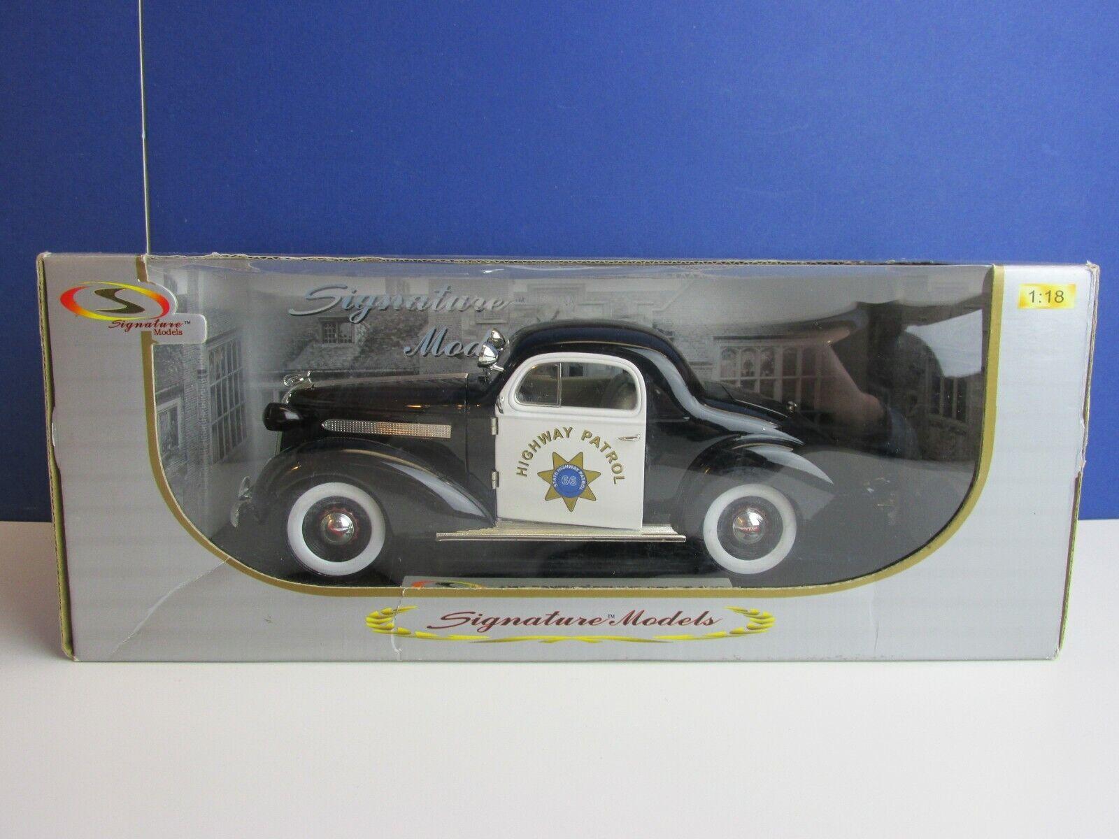 Signature Models 1936 Pontiac Deluxe Auto della polizia modello Diecast 1/18 11i