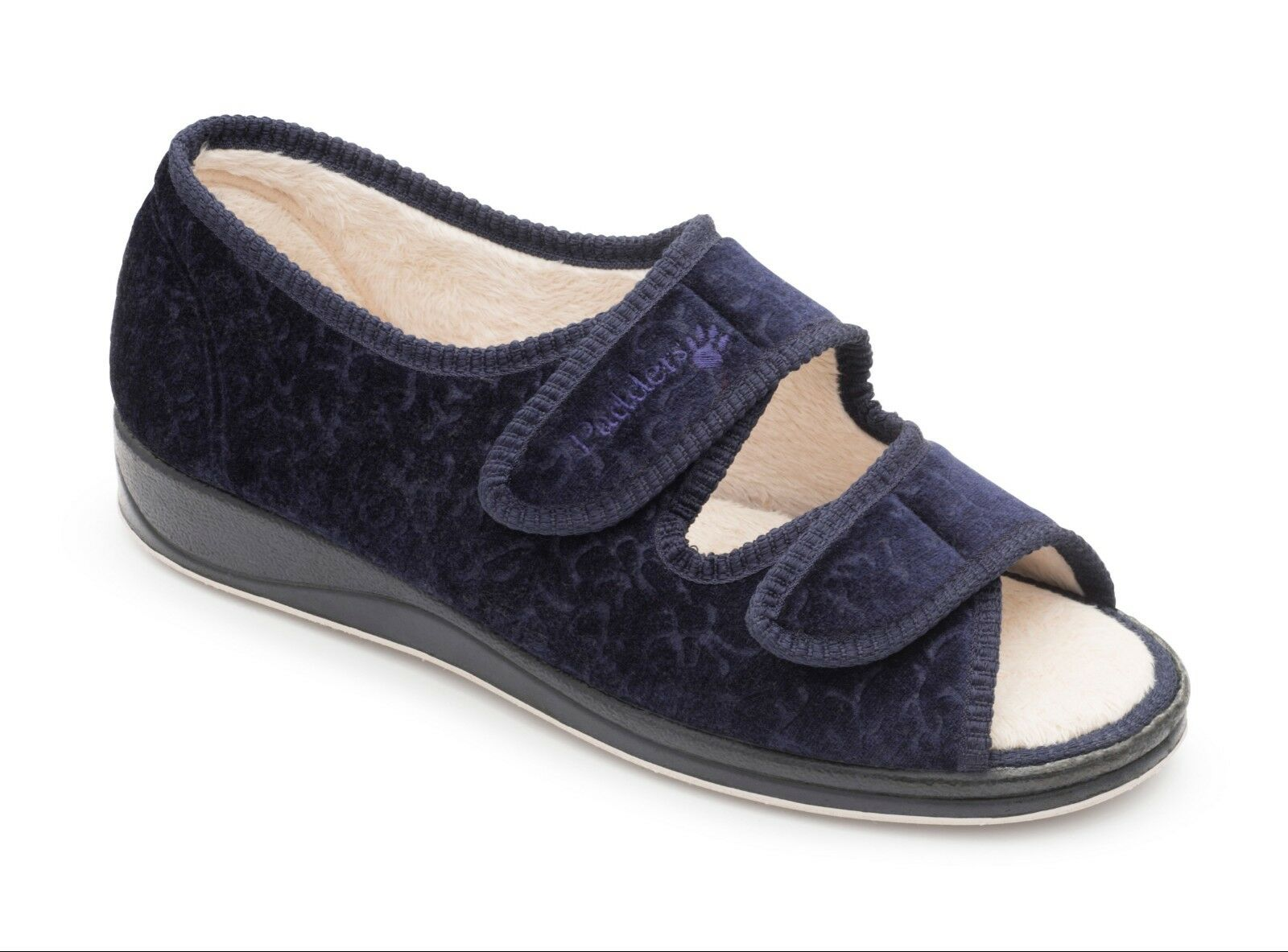 LADIES PADDERS EE EXTRA WIDE FIT STRAP SLIPPERS SHOES, NAVY LYDIA
