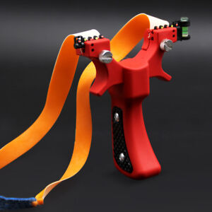 Resin Archery Slingshot Catapult Hunting Slingbow Rubber Band Level Laser Aiming