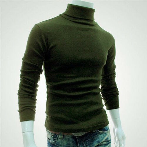 USA STOCK Mens Cotton Turtleneck Polo Pullover Sweater Stretch Jumper 6 Colors