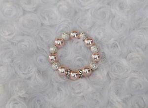 Preemie-Newborn-Baby-Ivory-Pink-Pearls-Bracelet-with-Swarovski-Beads-0-12-mos