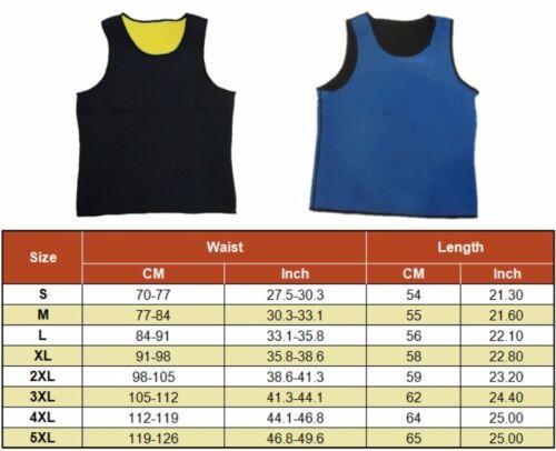 Men/'s Sauna Vest Wear Ultra Sweat Fat Burner Waist Trainer Shaper Tummy Control