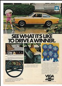 1973 Chevy Vega Print Ad ~ Blonde Female Pink Hot Pants Boots ~ Drive a Winner