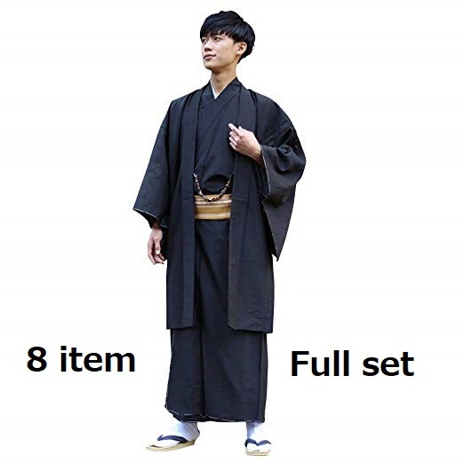 Japanese Mens Kimono Washable polyester black Beginner Full set 8 item