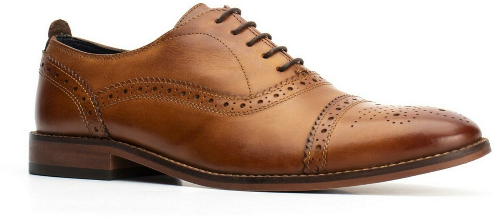 Base London Cast tan washed leather lace up formal oxford brogue schuhe