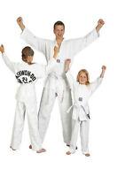 Kanku Taekwondo Uniforms White Color 10 Oz, White V Neck Black V Neck White Belt