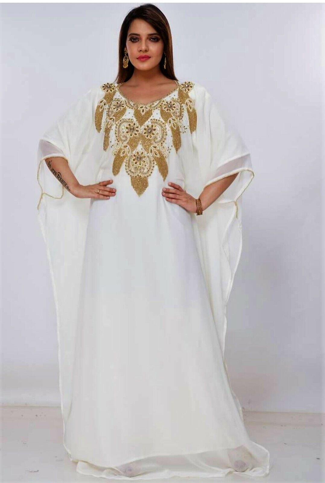Farasha Abaya Kleid Kaftan Abendkleid Dubai Kostüm Lang Georgette Moroccan/TK