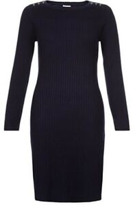 Monsoon-Mia-Military-Ottoman-Navy-Blue-Jumper-Dress-Uk-22-Bnwt-Rib-Knit