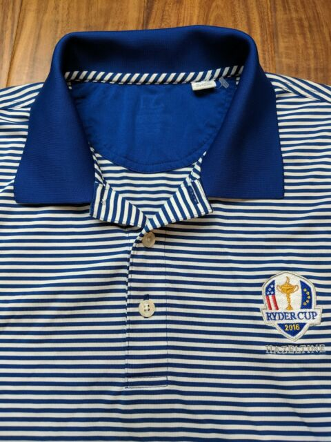 CUTTER & BUCK Blue Striped 2016 USA Ryder Cup Golf Polo Shirt Mens XL Drifit
