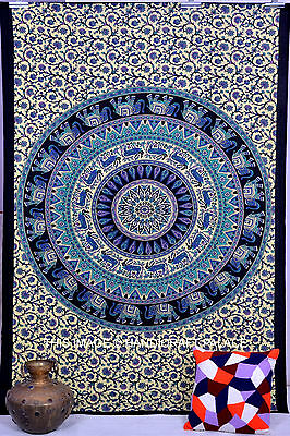 Twin Indian Tapestry Wall Hanging Hippie Elephant Mandala Tapestries Bedspread