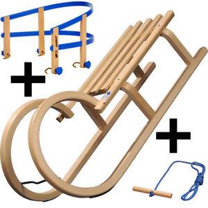 COLINT-Holzschlitten-Rodel-100-cm-Hoernerschlitten-Leine-Lehne-Holz-Schlitten-SET