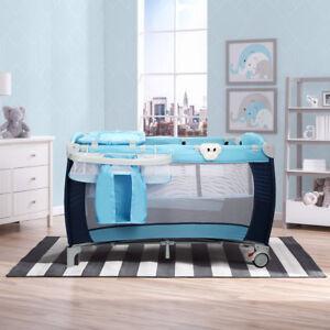 Travel-Cot-Bed-Play-Pen-Infant-Baby-Child-Bassinet-Playpen-Entryway-W-Bag-amp-Net
