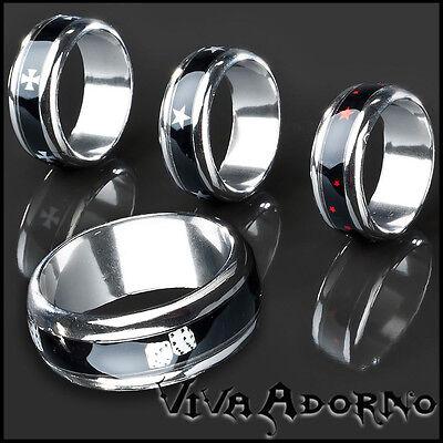 Romantisch Edelstahl Ring Bandring Sterne Würfel Iron Cross Design Daumenring Rs15 Eine GroßE Auswahl An Waren