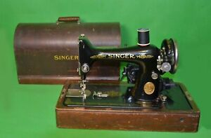 SINGER-99-VINTAGE-PORTABLE-SEWING-MACHINE-WORKS-WITH-WOODEN-CASE-AD092730