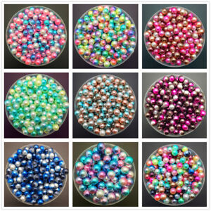NEW-4mm-6mm-8mm-Color-Acrylic-No-Hole-Round-Pearl-Loose-Beads-Jewelry-Making-UK