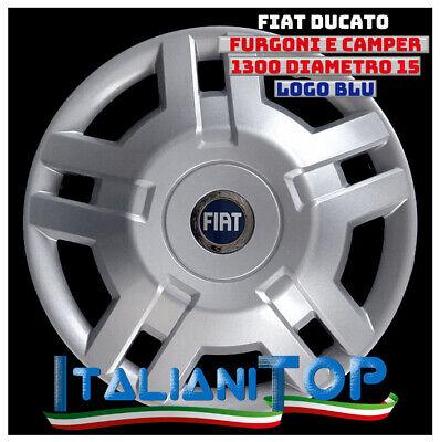 """SINGO COPRICERCHI COPPA RUOTA COPRIRUOTA BORCHIE 15/"""" LOGO BLU FIAT DUCATO 1300"""