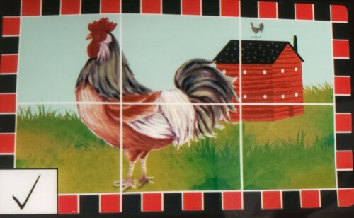 "BACKSPLASH STICKER // WALL DECAL GR 30/"" x 18/"" ROOSTER AT THE FARM"