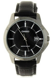 Casio-Men-039-s-Analog-Quartz-Stainless-Steel-Black-Leather-Watch-MTPV004L-1A
