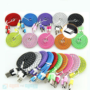 1M-2M-3M-Flat-Fabric-Braided-Micro-USB-Charger-Cable-Data-Lead-for-Samsung
