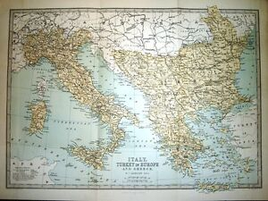 1877 victorian map italy turkey in europe greece 17 inches x image is loading 1877 victorian map italy turkey in europe amp gumiabroncs Choice Image