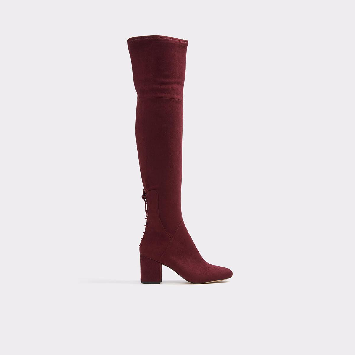 Aldo 'Adessi' Suede Over The Knee Boots - Block Mid Heel - Bordeaux - UK 4 EU 37