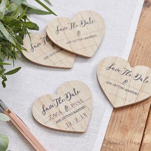 Save-the-Date-Magnete-10-Stueck-Holzherzen-natur-Hochzeit-Deko-Vintage-Boho