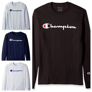 Champion-T-shirt-Brand-New-Classic-Men-039-s-Long-Sleeve-Tshirt-S-2XL