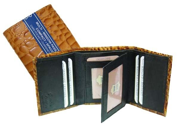 TAN CROCODILE EMBOSSED GENUINE LEATHER MENS BIFOLD WALLET
