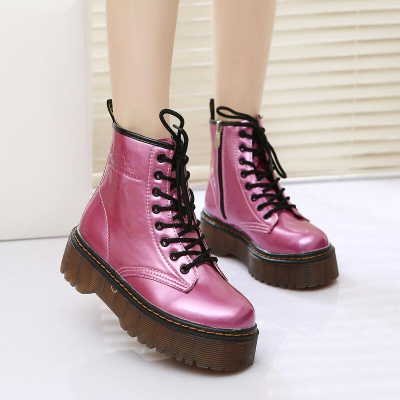 Women's Punk Biker Round Toe Lace Up Ankle Boots Platform Heels shoes Sz35-40