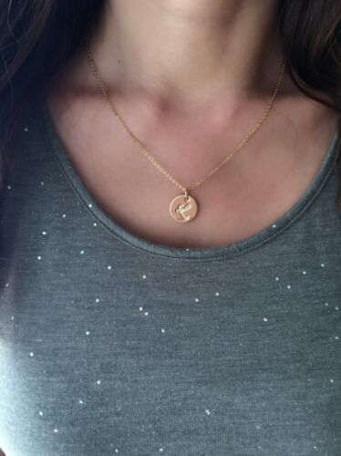 """18K Gold-Plated Initial Monogram Personalizes Disc Coin Pendant Necklace 18"""" N47"""