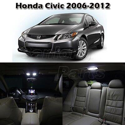 6x White Interior Light LED Bulb Package for Honda Civic 2006-2012 Sedan & Coupe