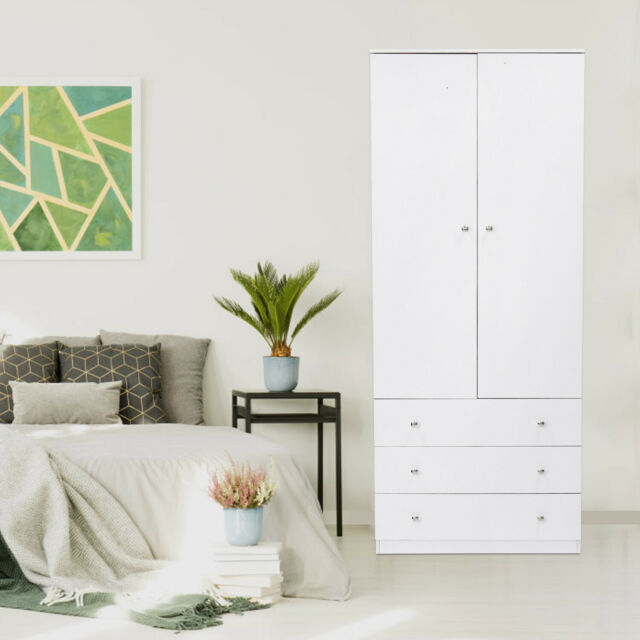 Wood Wardrobe Cabinet Armoire Clothes Closet Bedroom Storage Black Door  Drawers
