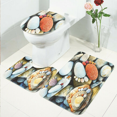 Floral Butterfly Print Three-piece Rug Set Toilet Covers Non-slip Bathroom Mat